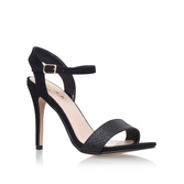 Imogen - predominant colour: black; occasions: evening, occasion; material: faux leather; heel height: high; ankle detail: ankle strap; heel: stiletto; toe: open toe/peeptoe; style: standard; finish: plain; pattern: plain; season: s/s 2016; wardrobe: event