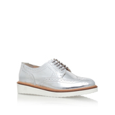 Knox - predominant colour: silver; occasions: casual, creative work; material: leather; heel height: flat; toe: round toe; style: brogues; finish: metallic; pattern: plain; season: s/s 2016; wardrobe: basic