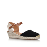 Lea - secondary colour: tan; predominant colour: black; occasions: casual; material: fabric; heel height: mid; heel: wedge; toe: round toe; finish: plain; pattern: plain; style: espadrilles; season: s/s 2016; wardrobe: highlight