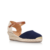 Lea - predominant colour: navy; occasions: casual, holiday; material: fabric; heel height: mid; ankle detail: ankle strap; heel: wedge; toe: round toe; finish: plain; pattern: plain; style: espadrilles; season: s/s 2016; wardrobe: highlight