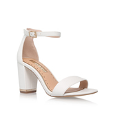 Cade - predominant colour: white; occasions: evening, occasion; material: faux leather; heel height: high; heel: block; toe: open toe/peeptoe; style: strappy; finish: plain; pattern: plain; season: s/s 2016; wardrobe: event