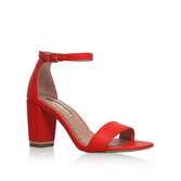 Cade - predominant colour: true red; occasions: evening, occasion; material: faux leather; heel height: high; heel: block; toe: open toe/peeptoe; style: strappy; finish: plain; pattern: plain; season: s/s 2016; wardrobe: event