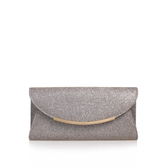 Delilah - occasions: evening, occasion; type of pattern: standard; style: clutch; length: hand carry; size: small; material: faux leather; pattern: plain; finish: plain; predominant colour: pewter; season: s/s 2016; wardrobe: event