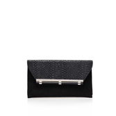 Denton - predominant colour: black; occasions: evening, occasion; type of pattern: standard; style: clutch; length: hand carry; size: standard; material: leather; pattern: plain; finish: plain; season: s/s 2016; wardrobe: event