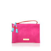 Gabriel Pouch - predominant colour: hot pink; occasions: evening, creative work; type of pattern: standard; style: clutch; length: hand carry; size: standard; material: suede; pattern: plain; finish: plain; season: s/s 2016; wardrobe: highlight
