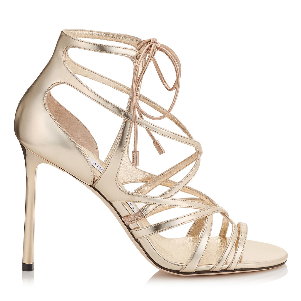 Tess 100 Champagne Mirror Leather Strappy Sandals - predominant colour: gold; occasions: evening, occasion; material: leather; ankle detail: ankle tie; heel: stiletto; toe: open toe/peeptoe; style: strappy; finish: metallic; pattern: plain; heel height: very high; season: s/s 2016; wardrobe: event