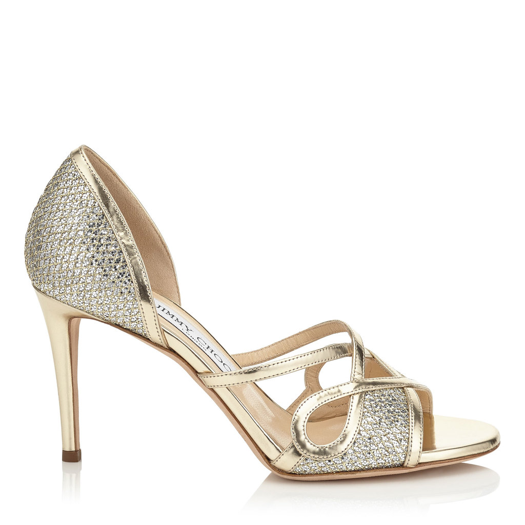 Trixie 85 Champagne Metallic Nappa And Glitter Fabric Sandals - predominant colour: gold; occasions: evening, occasion; material: faux leather; embellishment: glitter; heel: stiletto; toe: open toe/peeptoe; style: strappy; finish: metallic; pattern: plain; heel height: very high; season: s/s 2016; wardrobe: event
