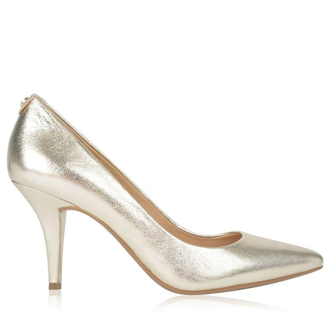 Flex Heels - predominant colour: gold; occasions: evening; material: leather; heel height: high; heel: stiletto; toe: pointed toe; style: courts; finish: metallic; pattern: plain; season: s/s 2016