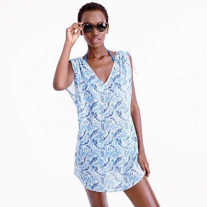 Shoulder Tie Tunic In Marine Fern - neckline: v-neck; sleeve style: capped; length: below the bottom; style: tunic; secondary colour: royal blue; predominant colour: pale blue; fibres: cotton - 100%; fit: body skimming; sleeve length: short sleeve; pattern type: fabric; pattern: patterned/print; texture group: other - light to midweight; occasions: activity; multicoloured: multicoloured; season: s/s 2016