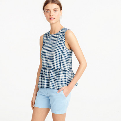 Ruffle Hem Silk Top In Gingham - sleeve style: sleeveless; pattern: polka dot; waist detail: peplum waist detail; predominant colour: white; secondary colour: navy; occasions: casual, holiday; length: standard; style: top; fibres: silk - 100%; fit: loose; neckline: crew; sleeve length: sleeveless; texture group: silky - light; pattern type: fabric; multicoloured: multicoloured; season: s/s 2016; wardrobe: highlight