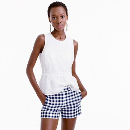 Gingham Cotton Short - pattern: checked/gingham; waist: mid/regular rise; predominant colour: navy; occasions: casual; fibres: cotton - 100%; texture group: cotton feel fabrics; pattern type: fabric; season: s/s 2016; style: shorts; length: short shorts; fit: slim leg; wardrobe: highlight