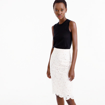 Collection Pencil Skirt In Austrian Lace - style: pencil; fit: tight; waist: mid/regular rise; predominant colour: ivory/cream; occasions: evening; length: on the knee; fibres: cotton - 100%; texture group: lace; pattern type: fabric; pattern: patterned/print; season: s/s 2016; wardrobe: event