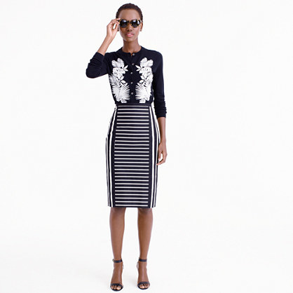Tall Mixed Stripe Pencil Skirt - pattern: striped; style: pencil; fit: tailored/fitted; waist: mid/regular rise; secondary colour: white; predominant colour: navy; occasions: evening; length: on the knee; fibres: cotton - 100%; pattern type: fabric; texture group: woven light midweight; multicoloured: multicoloured; season: s/s 2016