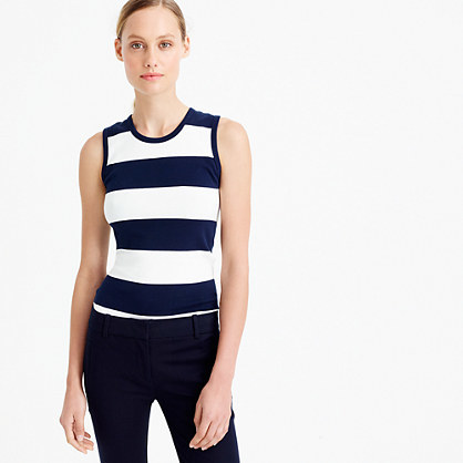 Perfect Fit Striped Shell - pattern: horizontal stripes; sleeve style: sleeveless; style: vest top; secondary colour: white; predominant colour: navy; occasions: casual; length: standard; fibres: cotton - 100%; fit: tight; neckline: crew; sleeve length: sleeveless; texture group: jersey - clingy; pattern type: fabric; multicoloured: multicoloured; season: s/s 2016; wardrobe: basic