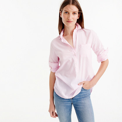 Popover Shirt In Pink Stripe - neckline: shirt collar/peter pan/zip with opening; pattern: plain; style: shirt; predominant colour: blush; occasions: casual; length: standard; fibres: cotton - 100%; fit: body skimming; sleeve length: long sleeve; sleeve style: standard; pattern type: fabric; texture group: other - light to midweight; season: s/s 2016; wardrobe: basic