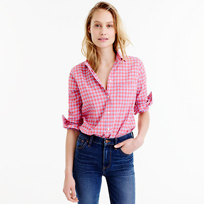 Boy Shirt In Two Tone Crinkle Gingham - neckline: shirt collar/peter pan/zip with opening; pattern: checked/gingham; style: shirt; secondary colour: white; predominant colour: pink; occasions: casual; length: standard; fibres: cotton - stretch; fit: body skimming; sleeve length: long sleeve; sleeve style: standard; texture group: cotton feel fabrics; pattern type: fabric; multicoloured: multicoloured; season: s/s 2016; wardrobe: highlight