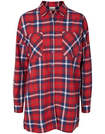 Long Sleeve Check Oversized Shirt - neckline: shirt collar/peter pan/zip with opening; pattern: checked/gingham; length: below the bottom; style: shirt; predominant colour: burgundy; secondary colour: navy; occasions: casual; fibres: cotton - 100%; fit: loose; sleeve length: long sleeve; sleeve style: standard; texture group: cotton feel fabrics; pattern type: fabric; multicoloured: multicoloured; season: s/s 2016; wardrobe: highlight