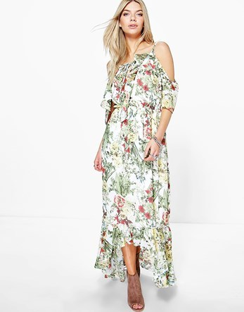 Floral Print Ruffle Neck Maxi Dress - neckline: off the shoulder; fit: loose; style: maxi dress; length: ankle length; predominant colour: white; secondary colour: khaki; occasions: casual; fibres: polyester/polyamide - 100%; sleeve length: short sleeve; sleeve style: standard; pattern type: fabric; pattern: florals; texture group: other - light to midweight; multicoloured: multicoloured; season: s/s 2016; wardrobe: highlight
