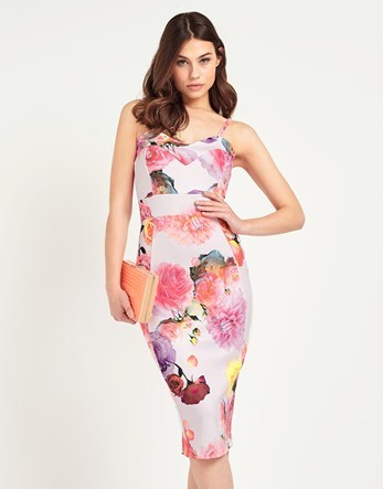 Strappy Floral Midi Dress - length: below the knee; neckline: round neck; sleeve style: spaghetti straps; fit: tight; style: bodycon; predominant colour: ivory/cream; secondary colour: pink; occasions: evening; fibres: polyester/polyamide - stretch; sleeve length: sleeveless; texture group: jersey - clingy; pattern type: fabric; pattern: florals; multicoloured: multicoloured; season: s/s 2016; wardrobe: event