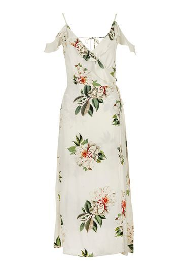 Floral Maxi Dress - neckline: v-neck; sleeve style: open slash; style: maxi dress; length: ankle length; predominant colour: ivory/cream; secondary colour: dark green; occasions: evening, creative work; fit: body skimming; fibres: viscose/rayon - 100%; sleeve length: short sleeve; bust detail: bulky details at bust; pattern type: fabric; pattern: florals; texture group: woven light midweight; multicoloured: multicoloured; trends: pretty girl; season: s/s 2016; wardrobe: highlight