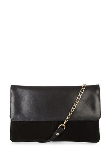 Suede & Leather Crossbody Bag - predominant colour: black; occasions: casual; type of pattern: standard; style: messenger; length: across body/long; size: small; material: leather; pattern: plain; finish: plain; embellishment: chain/metal; season: s/s 2016; wardrobe: highlight