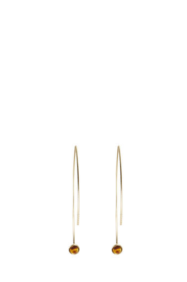 Stone Thread Through Earrings - predominant colour: gold; occasions: evening, creative work; style: hoop; length: long; size: standard; material: chain/metal; fastening: pierced; finish: metallic; embellishment: jewels/stone; season: s/s 2016