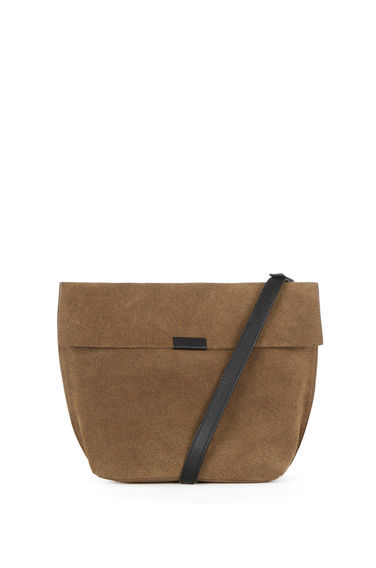 Exposed Seam Cross Body Bag - predominant colour: tan; secondary colour: black; occasions: casual, creative work; type of pattern: standard; style: shoulder; length: across body/long; size: standard; material: suede; pattern: plain; finish: plain; season: s/s 2016; wardrobe: highlight