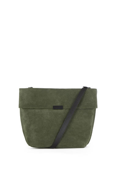 Exposed Seam Cross Body Bag - predominant colour: khaki; secondary colour: black; occasions: casual, creative work; type of pattern: standard; style: shoulder; length: across body/long; size: standard; material: suede; finish: plain; pattern: colourblock; season: s/s 2016; wardrobe: highlight