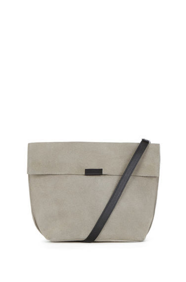 Exposed Seam Cross Body Bag - predominant colour: light grey; secondary colour: black; occasions: casual, creative work; type of pattern: standard; style: shoulder; length: across body/long; size: standard; material: faux leather; pattern: plain; finish: plain; season: s/s 2016; wardrobe: investment