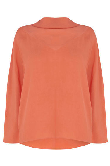 Batwing Cowl Neck Top - sleeve style: dolman/batwing; pattern: plain; neckline: high neck; predominant colour: coral; occasions: casual, creative work; length: standard; style: top; fibres: polyester/polyamide - 100%; fit: straight cut; sleeve length: long sleeve; texture group: crepes; pattern type: fabric; season: s/s 2016; wardrobe: highlight