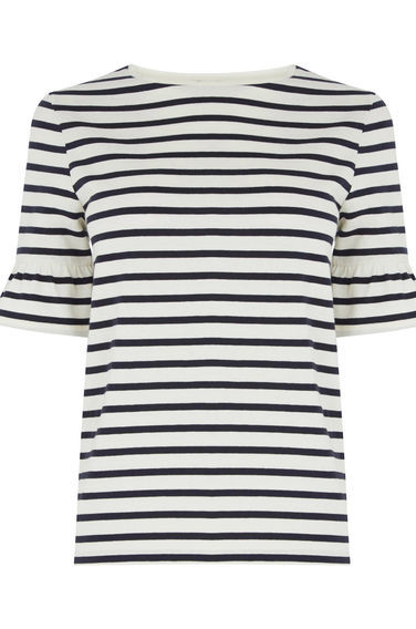 Stripe Flute Sleeve Tee - pattern: horizontal stripes; style: t-shirt; predominant colour: white; secondary colour: black; occasions: casual; length: standard; fibres: cotton - 100%; fit: body skimming; neckline: crew; sleeve length: short sleeve; sleeve style: standard; pattern type: fabric; texture group: jersey - stretchy/drapey; multicoloured: multicoloured; season: s/s 2016; wardrobe: basic