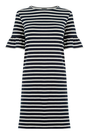 Stripe Flute Sleeve Dress - style: shift; length: mid thigh; pattern: horizontal stripes; predominant colour: white; occasions: casual; fit: body skimming; fibres: cotton - 100%; neckline: crew; sleeve length: short sleeve; sleeve style: standard; trends: monochrome, graphic stripes; pattern type: fabric; texture group: jersey - stretchy/drapey; season: s/s 2016; wardrobe: basic