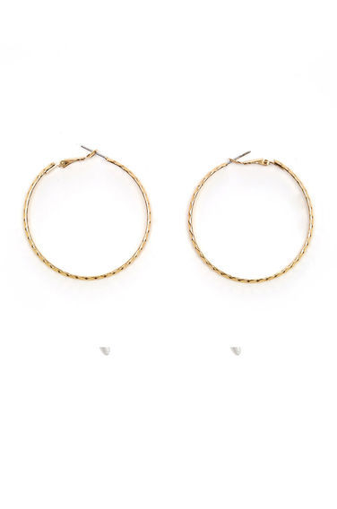 Etched Hoop Earrings - predominant colour: gold; occasions: evening; style: hoop; length: mid; size: large/oversized; material: chain/metal; fastening: pierced; finish: metallic; season: s/s 2016; wardrobe: event