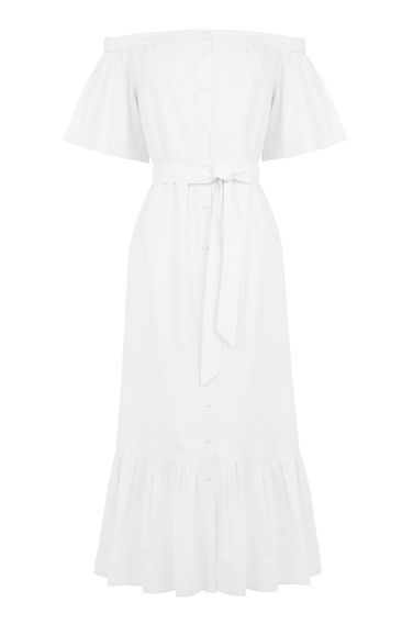 Cotton Off Shoulder Midi Dress - length: calf length; neckline: off the shoulder; pattern: plain; style: sundress; waist detail: belted waist/tie at waist/drawstring; predominant colour: white; occasions: casual, holiday; fit: soft a-line; fibres: cotton - 100%; sleeve length: short sleeve; sleeve style: standard; texture group: cotton feel fabrics; pattern type: fabric; season: s/s 2016; wardrobe: highlight