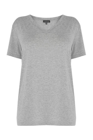 V Neck Tee - neckline: v-neck; pattern: plain; style: t-shirt; predominant colour: light grey; occasions: casual; length: standard; fibres: viscose/rayon - stretch; fit: body skimming; sleeve length: short sleeve; sleeve style: standard; pattern type: fabric; texture group: jersey - stretchy/drapey; season: s/s 2016; wardrobe: basic