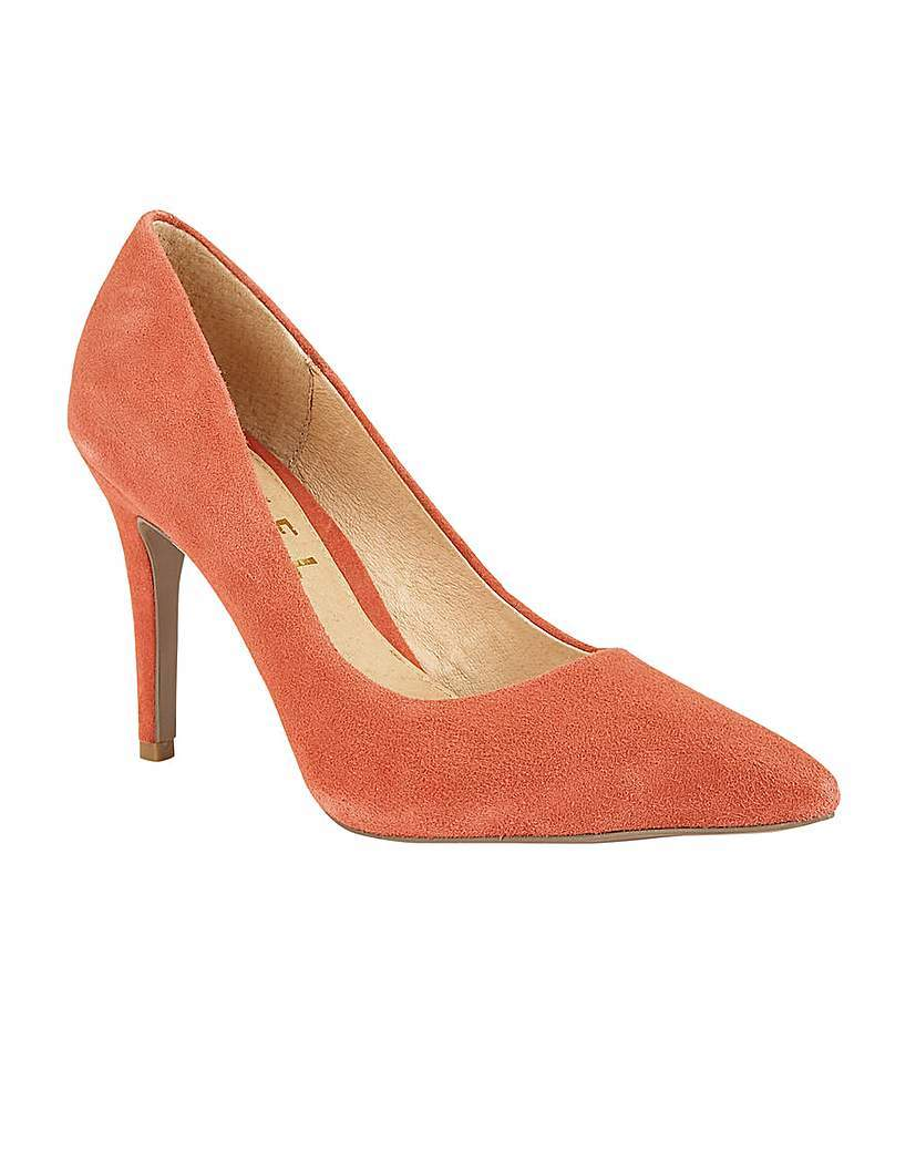 Hamden Ladies Heeled Pumps - predominant colour: coral; occasions: evening, occasion, creative work; material: suede; heel height: high; heel: stiletto; toe: pointed toe; style: courts; finish: plain; pattern: plain; season: s/s 2016; wardrobe: highlight