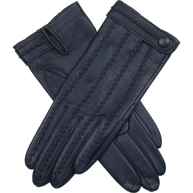 Stitch Detail Leather Gloves, Women's, Blue - predominant colour: black; occasions: work, creative work; type of pattern: standard; style: standard; length: wrist; material: leather; pattern: plain; season: s/s 2016; wardrobe: basic
