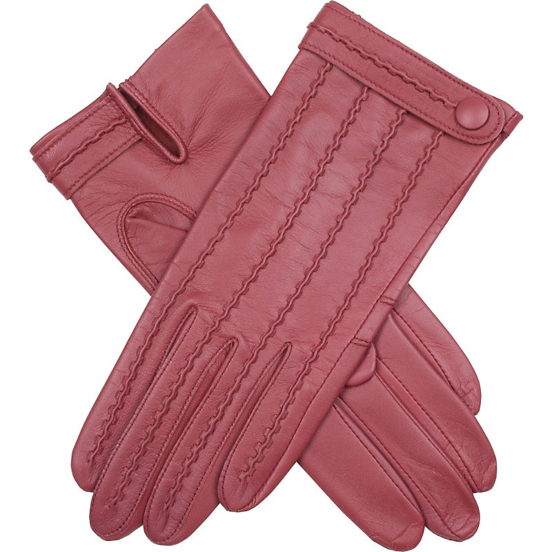 Stitch Detail Leather Gloves, Women's, Antique Rose - occasions: casual, creative work; type of pattern: standard; style: standard; length: wrist; material: leather; pattern: plain; predominant colour: dusky pink; season: s/s 2016
