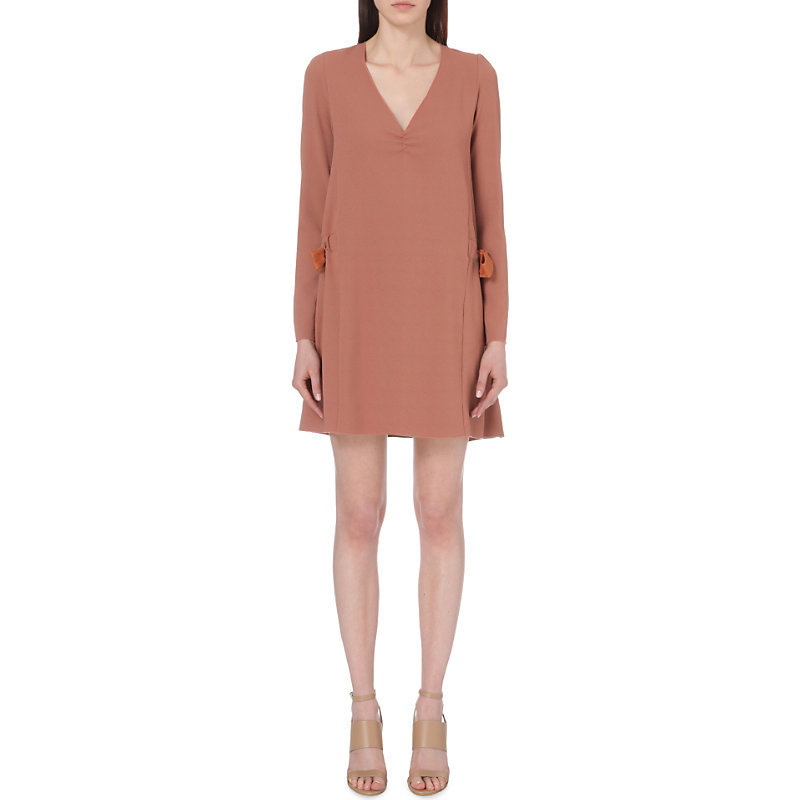 Tie Side Crepe Dress, Women's, Black/Brown/Maroon - style: shift; length: mid thigh; neckline: v-neck; pattern: plain; predominant colour: coral; occasions: evening; fit: body skimming; fibres: polyester/polyamide - stretch; sleeve length: long sleeve; sleeve style: standard; texture group: crepes; pattern type: fabric; season: s/s 2016