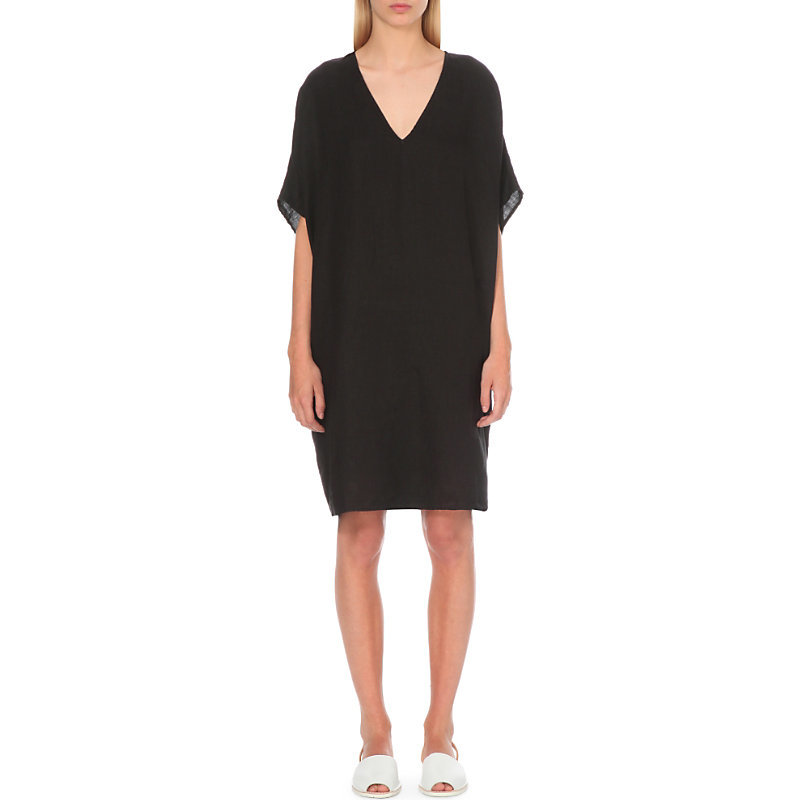 Oversized Linen Kaftan Dress, Women's, Size: Small, Black - style: tunic; neckline: low v-neck; fit: loose; pattern: plain; predominant colour: black; length: just above the knee; fibres: linen - 100%; sleeve length: half sleeve; sleeve style: standard; texture group: linen; pattern type: fabric; occasions: creative work; season: s/s 2016; wardrobe: investment