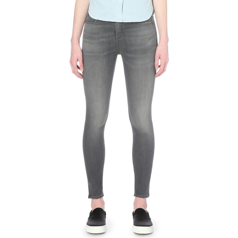10 Inch Capri Skinny High Rise Jeans, Women's, Axl - style: skinny leg; pattern: plain; pocket detail: traditional 5 pocket; waist: mid/regular rise; predominant colour: mid grey; occasions: casual; length: ankle length; fibres: cotton - stretch; jeans detail: shading down centre of thigh; texture group: denim; pattern type: fabric; season: s/s 2016; wardrobe: highlight