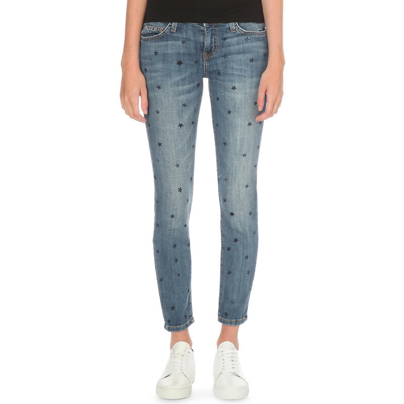 The Stiletto Skinny Mid Rise Jeans, Women's, Revival W/Mini Navy Star - style: skinny leg; pattern: plain; pocket detail: traditional 5 pocket; waist: mid/regular rise; predominant colour: denim; occasions: casual; length: ankle length; fibres: cotton - stretch; jeans detail: whiskering, shading down centre of thigh; texture group: denim; pattern type: fabric; season: s/s 2016; wardrobe: basic