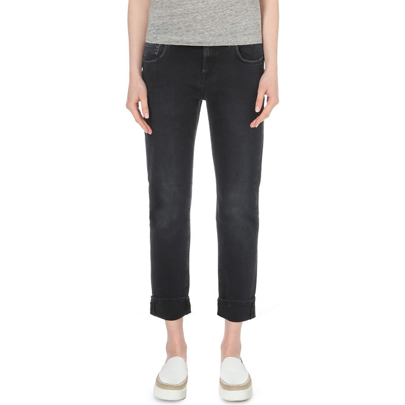 Faded Relaxed Skinny Mid Rise Jeans, Women's, Black Smoke - style: skinny leg; pattern: plain; pocket detail: traditional 5 pocket; waist: mid/regular rise; predominant colour: black; occasions: casual; length: calf length; fibres: cotton - stretch; jeans detail: dark wash; texture group: denim; pattern type: fabric; season: s/s 2016; wardrobe: basic