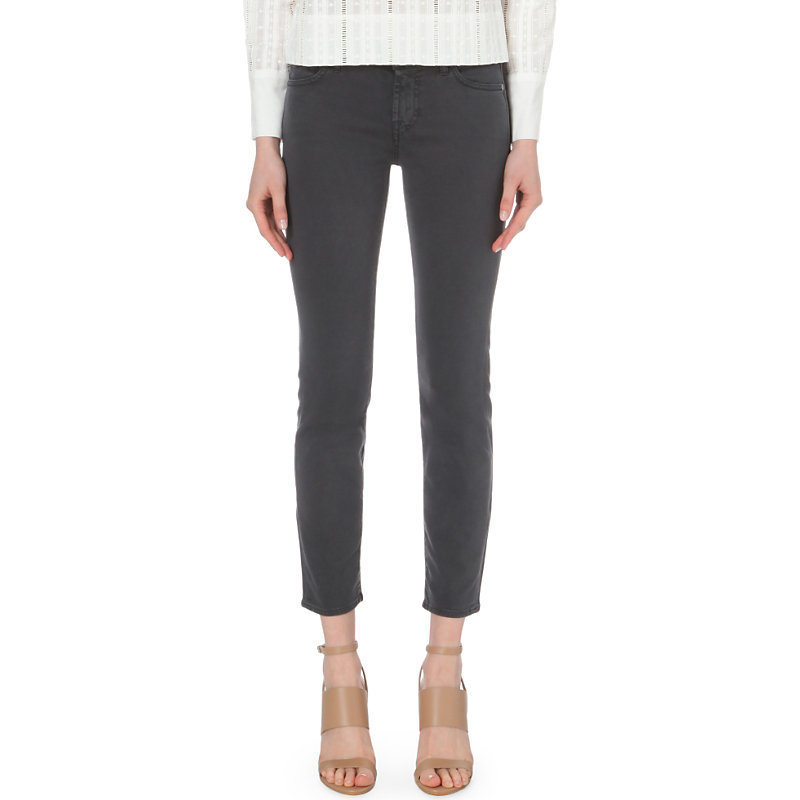 Roxanne Slim Fit Mid Rise Jeans, Women's, Riche Sateen Grey - pattern: plain; pocket detail: traditional 5 pocket; style: slim leg; waist: mid/regular rise; predominant colour: charcoal; occasions: casual; length: ankle length; fibres: cotton - stretch; texture group: denim; pattern type: fabric; season: s/s 2016
