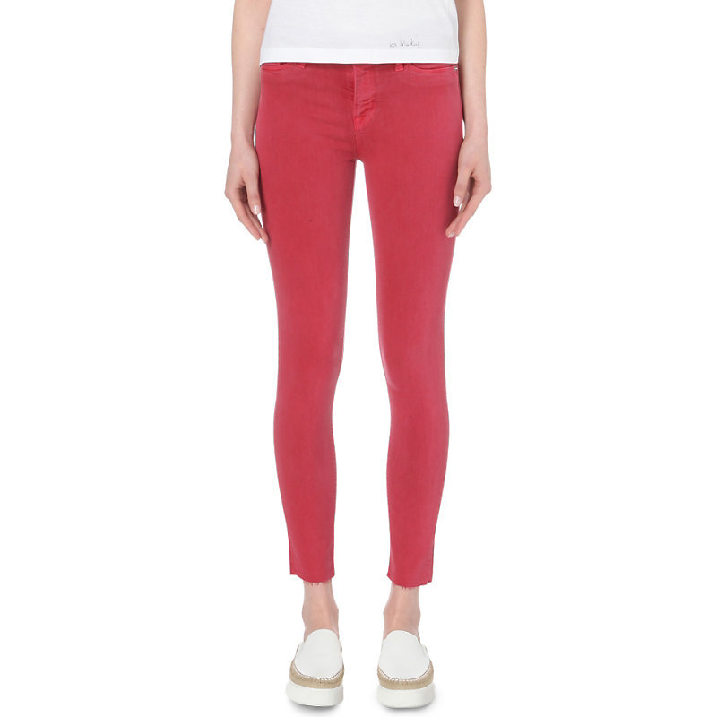 Nico Super Skinny Mid Rise Jeans, Women's, Red Stone - style: skinny leg; length: standard; pattern: plain; pocket detail: traditional 5 pocket; waist: mid/regular rise; predominant colour: true red; occasions: casual, creative work; fibres: cotton - stretch; texture group: denim; pattern type: fabric; season: s/s 2016; wardrobe: highlight