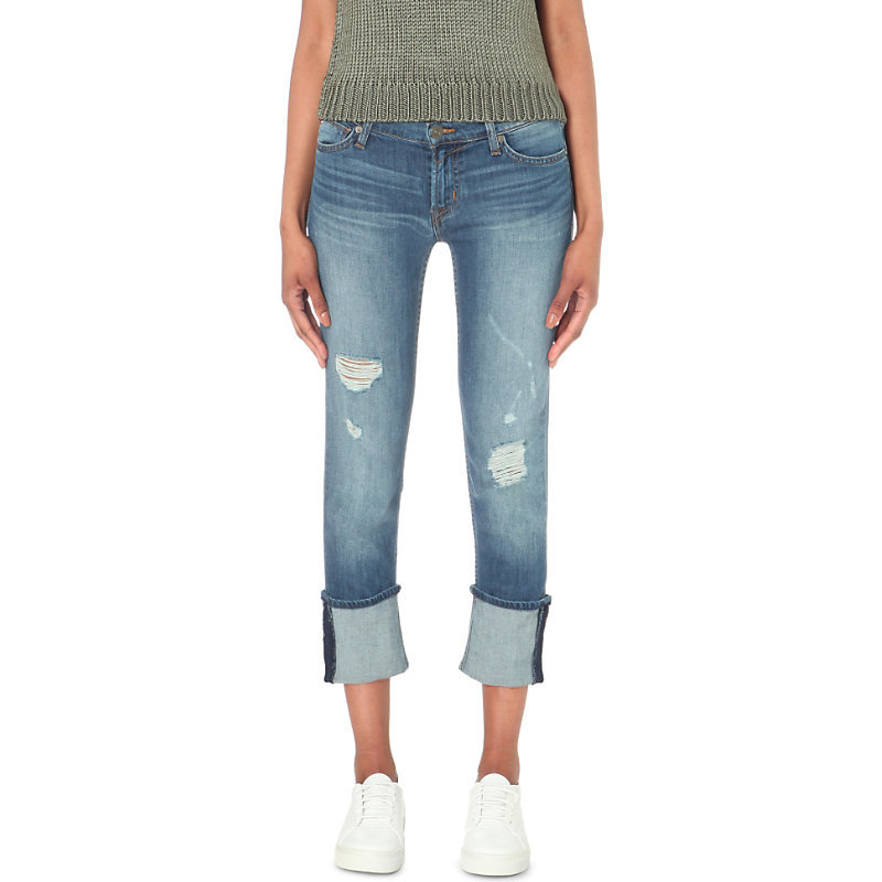 Muse Skinny Mid Rise Turn Up Jeans, Women's, Hustle - style: skinny leg; length: standard; pattern: plain; pocket detail: traditional 5 pocket; waist: mid/regular rise; predominant colour: denim; occasions: casual; fibres: cotton - stretch; jeans detail: washed/faded, rips; texture group: denim; pattern type: fabric; season: s/s 2016; wardrobe: basic