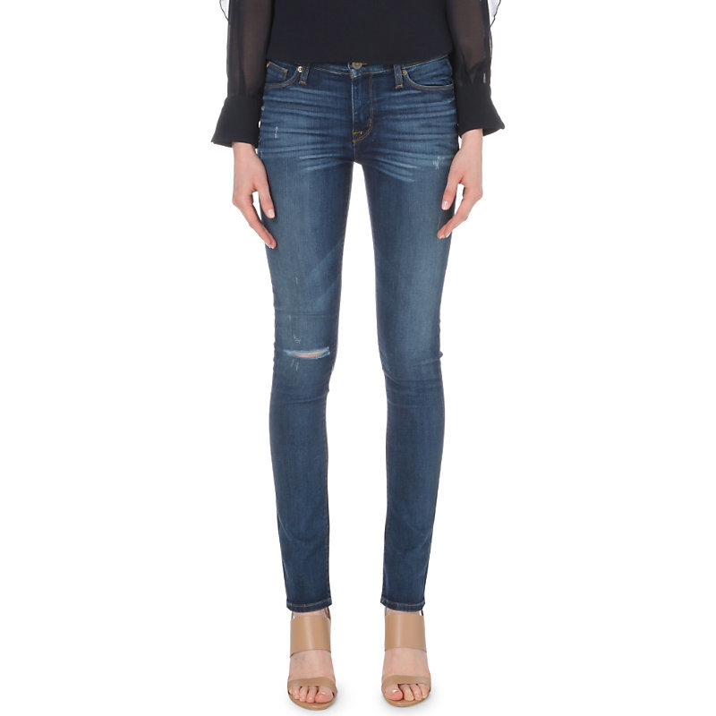 Shine Skinny Mid Rise Jeans, Women's, Offshore - style: skinny leg; length: standard; pattern: plain; pocket detail: traditional 5 pocket; waist: mid/regular rise; predominant colour: navy; occasions: casual; fibres: cotton - stretch; jeans detail: whiskering, rips; texture group: denim; pattern type: fabric; season: s/s 2016