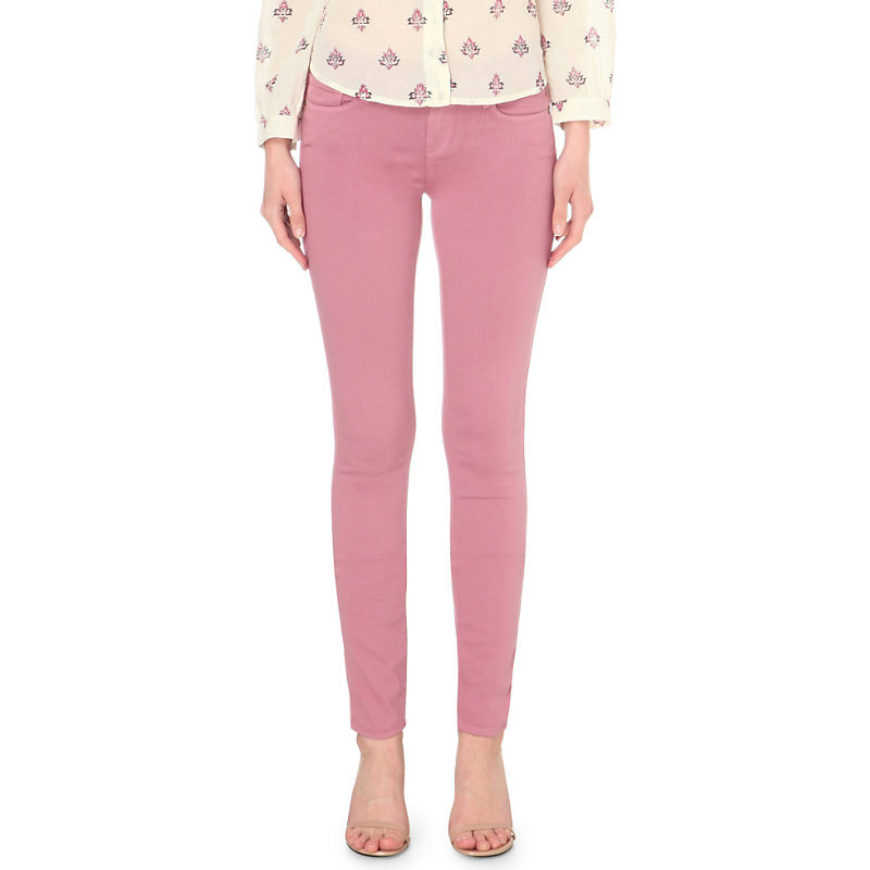 Verdugo Ankle Skinny Mid Rise Jeans, Women's, Mesa Pink - style: skinny leg; length: standard; pattern: plain; pocket detail: traditional 5 pocket; waist: mid/regular rise; predominant colour: pink; occasions: casual, creative work; fibres: cotton - stretch; texture group: denim; pattern type: fabric; season: s/s 2016