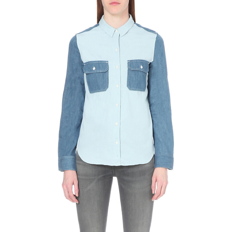 Contrast Panelled Denim Utility Shirt, Women's, Size: Small, Royal Blue - neckline: shirt collar/peter pan/zip with opening; pattern: plain; style: shirt; bust detail: pocket detail at bust; predominant colour: pale blue; secondary colour: denim; occasions: casual; length: standard; fibres: cotton - 100%; fit: body skimming; sleeve length: long sleeve; sleeve style: standard; texture group: denim; pattern type: fabric; multicoloured: multicoloured; season: s/s 2016