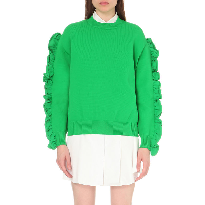 Ruffle Trim Knitted Jumper, Women's, Spring Green/Brown - pattern: plain; style: standard; predominant colour: mint green; occasions: casual, creative work; length: standard; fibres: nylon - mix; fit: standard fit; neckline: crew; sleeve length: long sleeve; sleeve style: standard; texture group: knits/crochet; pattern type: knitted - fine stitch; season: s/s 2016; wardrobe: highlight